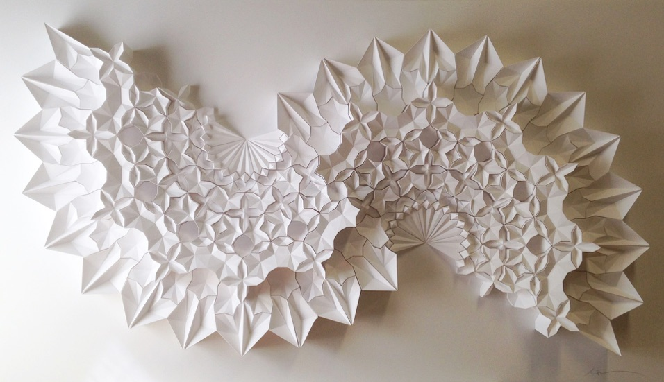 Ara 211, 2016, Paper, 48 x 83 x 6 in. Paper artist Matthew Shlian (previously here and here ) combin