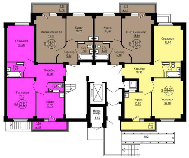 планировка 5 подъезд, 1 этаж.png