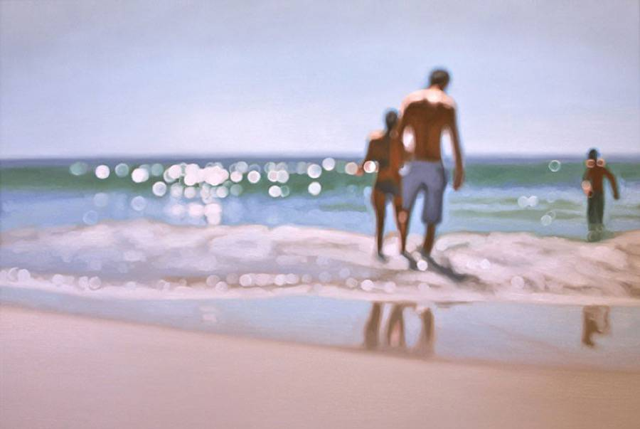 Blurry Paintings of People on the Beach