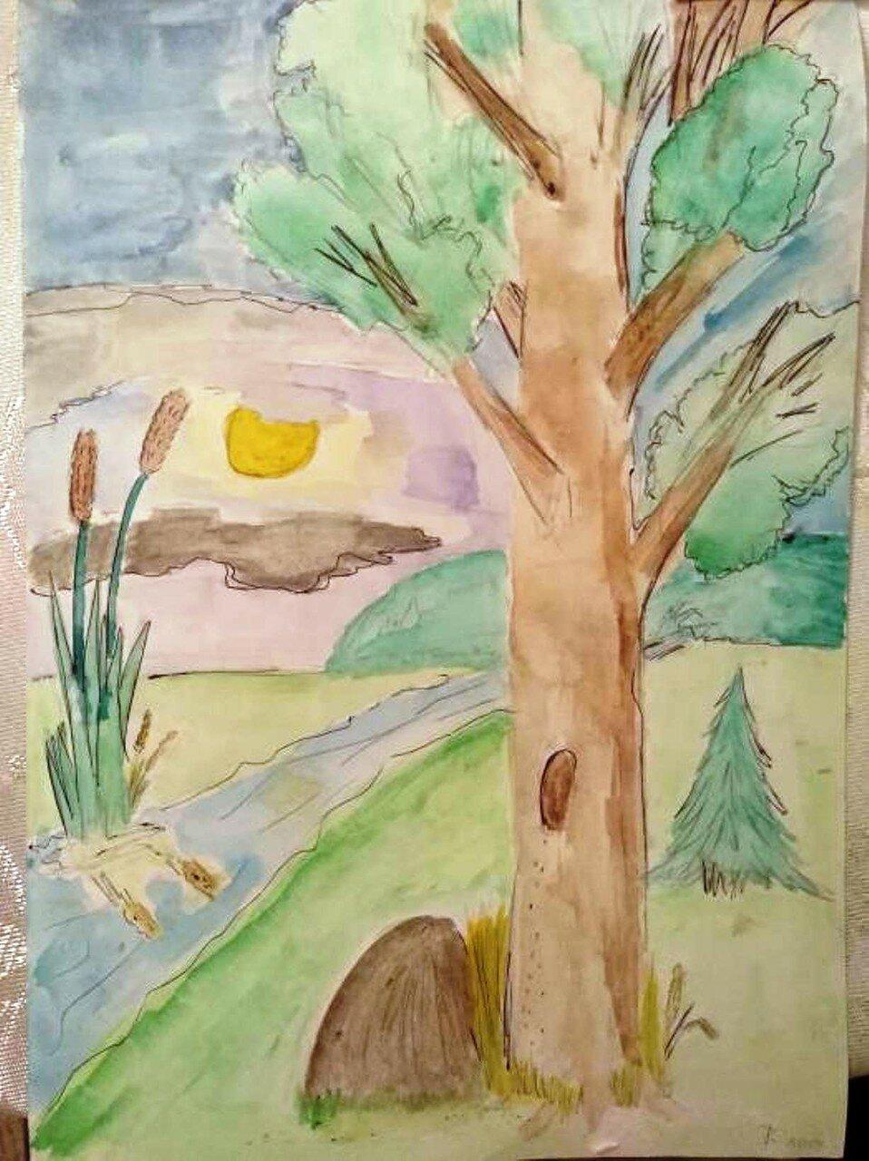 Лесная тишь - Анисимов Егор, 10 лет, Тема -- Рисунок, г. Луховицы.jpg
