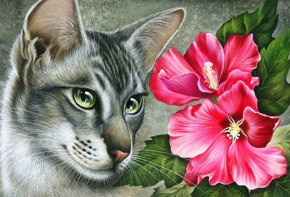 оборванными краями открытки с котятами и цветами это искусство