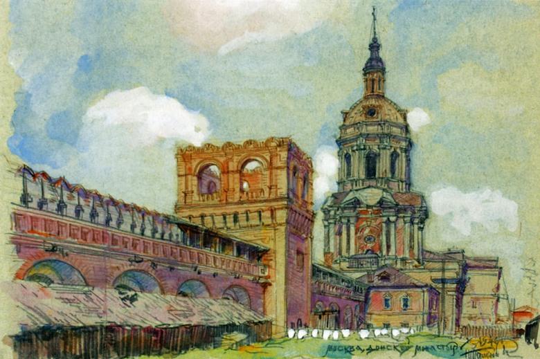Донской монастырь. Рисунок 1946 г..jpg