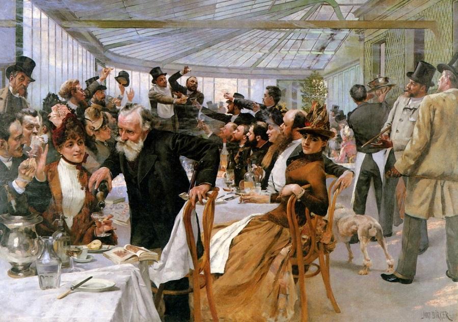 Skandinaviska konstnärernas frukost i Cafe Ledoyen, Paris. 1886 г