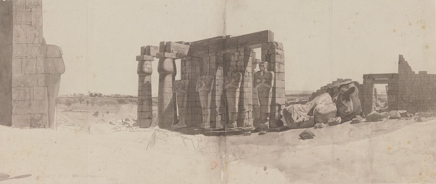 Рамессеум. Вид перистиля гробницы и остатки колоссальной статуи Рамзеса II