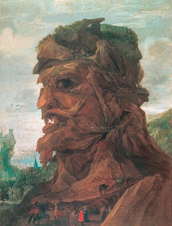 2-J25-H1-1610-1-B (158253)'Allegorie des Herbstes'Momper, Joos de1564-1635.'Allegorie des Herbstes', undat.Aus einer Serie der vier Jahreszeitenin anthropomorphen Landschaften.Öl auf Leinwand, 55 x 39,6 cm.Privatsammlung.