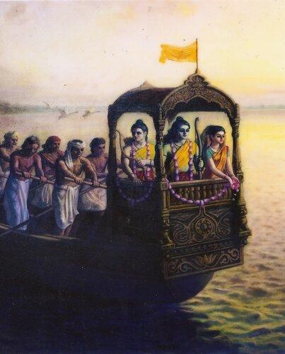 Рамаяна - Сита-Рама и Лакшмана плывут по Ганге в изгнании первый год