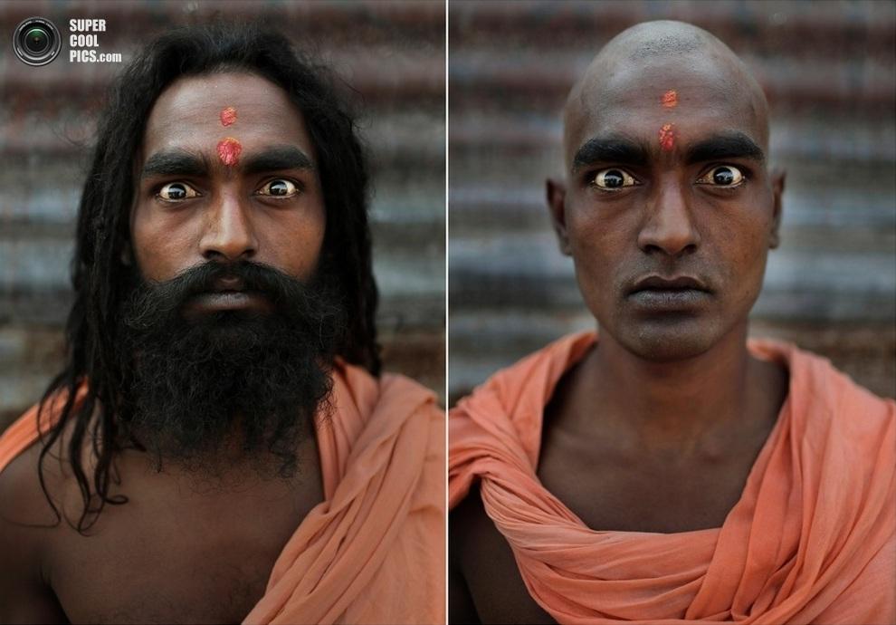 Портреты нага садху до и после ритуала инициации (6 фото)