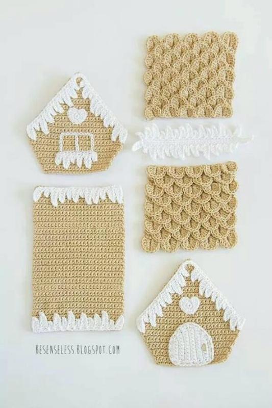 Вязаные рождественские домики