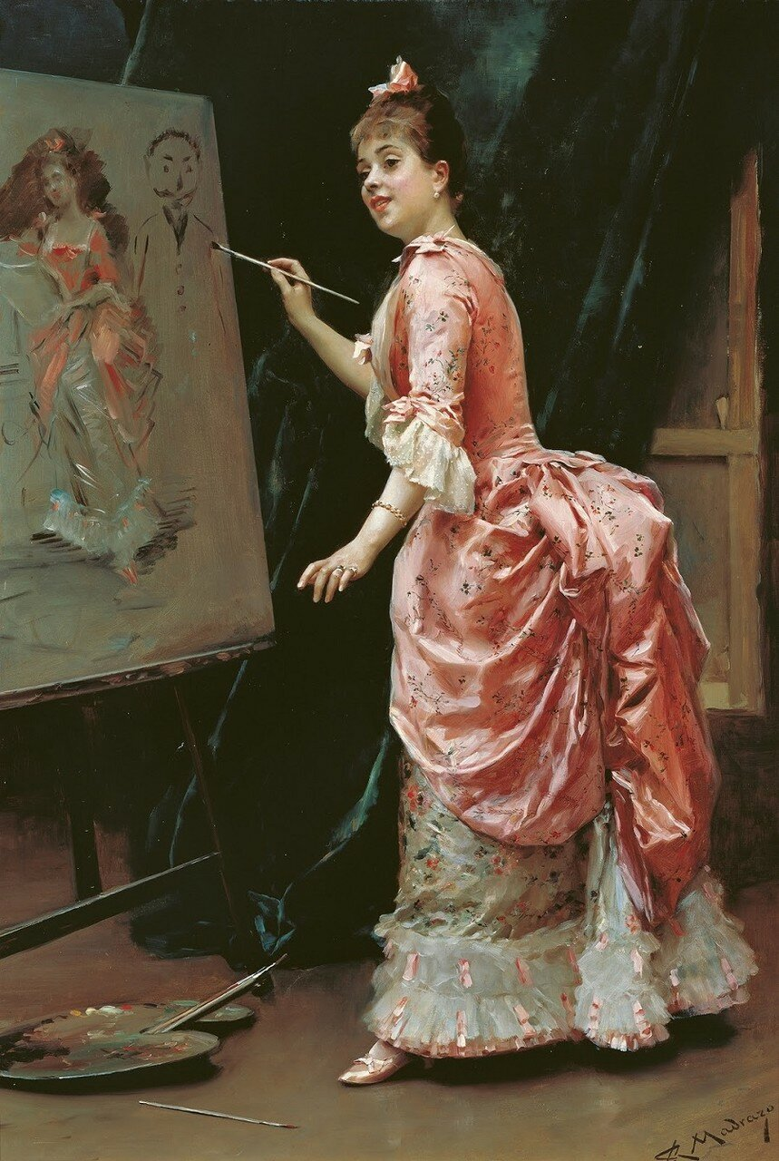 1885 (ок)_Модель проказничает (Travesuras de la modelo)_95.2 х 66_х.,м._Малага, музей баронессы Кармен Тиссен.jpg