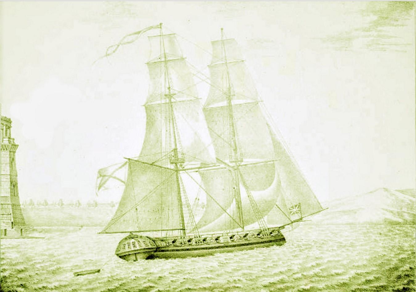 Вид Яхты в селе Грузине на реке Волхове. Рисовал на камне П. Колмаков. 1822