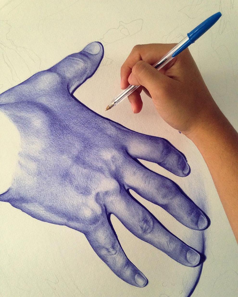 Завораживающие картины, нарисованные шариковой ручкой