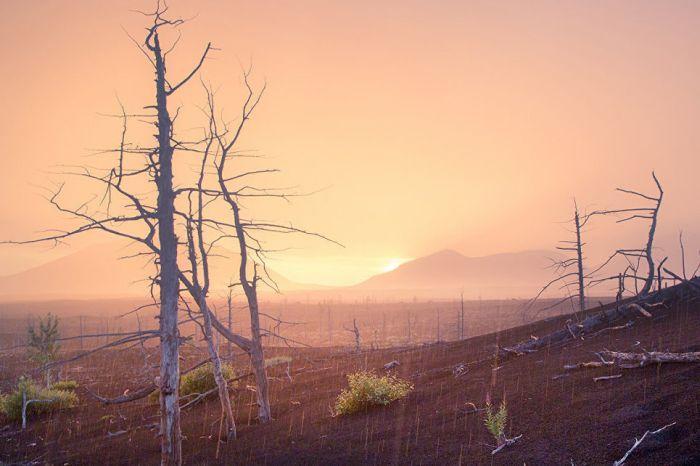 Лучи заходящего солнца подсветили туманную дымку над покрытой пеплом долиной.