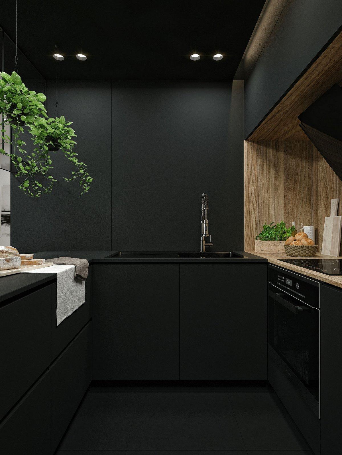 Кухня черного цвета в квартире