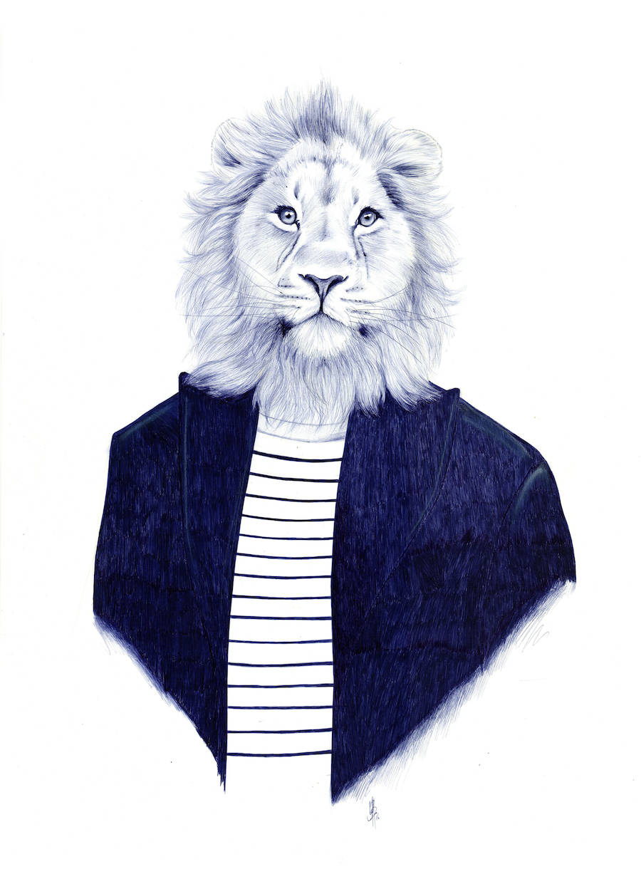 Realistic Pen Illustrations of Half-Men Half-Animals