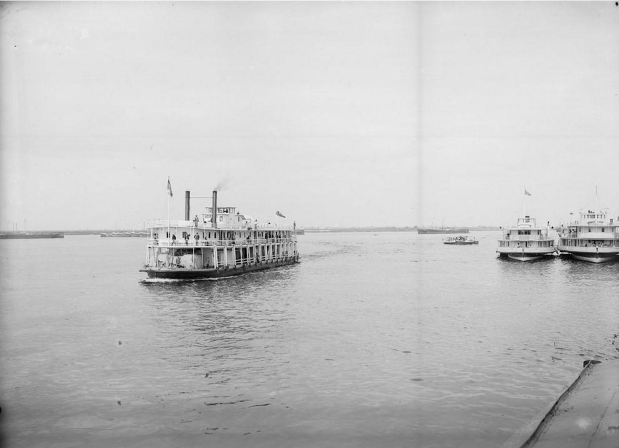 1903. Заднеколесный пароход. Общий вид. Нижний Новгород