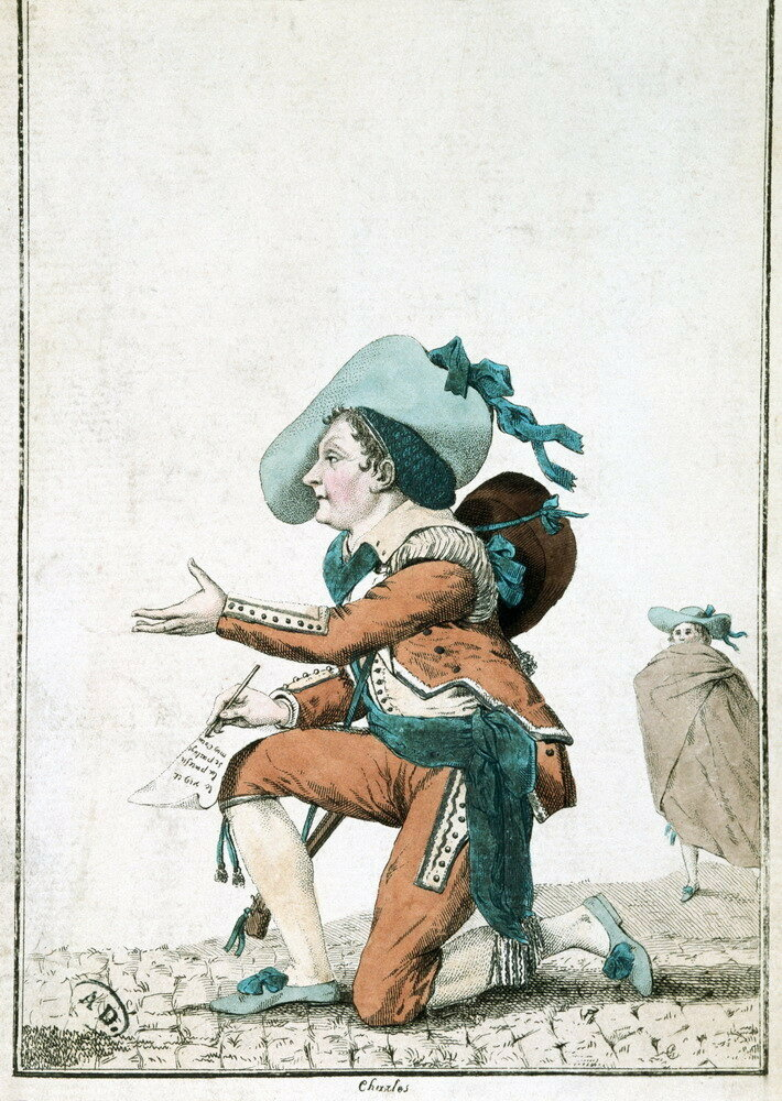 """French Print of The Comedian Dazincourt as Figaro in Beaumarchais' """"Barber of Seville"""""""