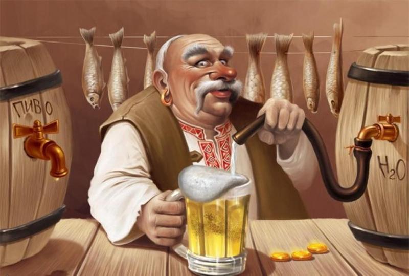 День пивовара! Усатый мужчина с пивом на фоне рыбы!