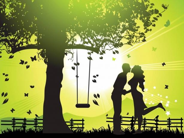 Открытки. 6 июля -день поцелуя! Парень и девушка целуются у качелей
