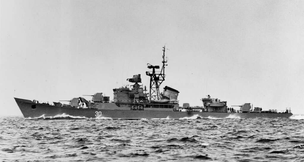 Riga-class ocean escort in the Baltic Sea. Soviet ship at sea, photographed circa 1964. Ship is wearing pennant number 30.