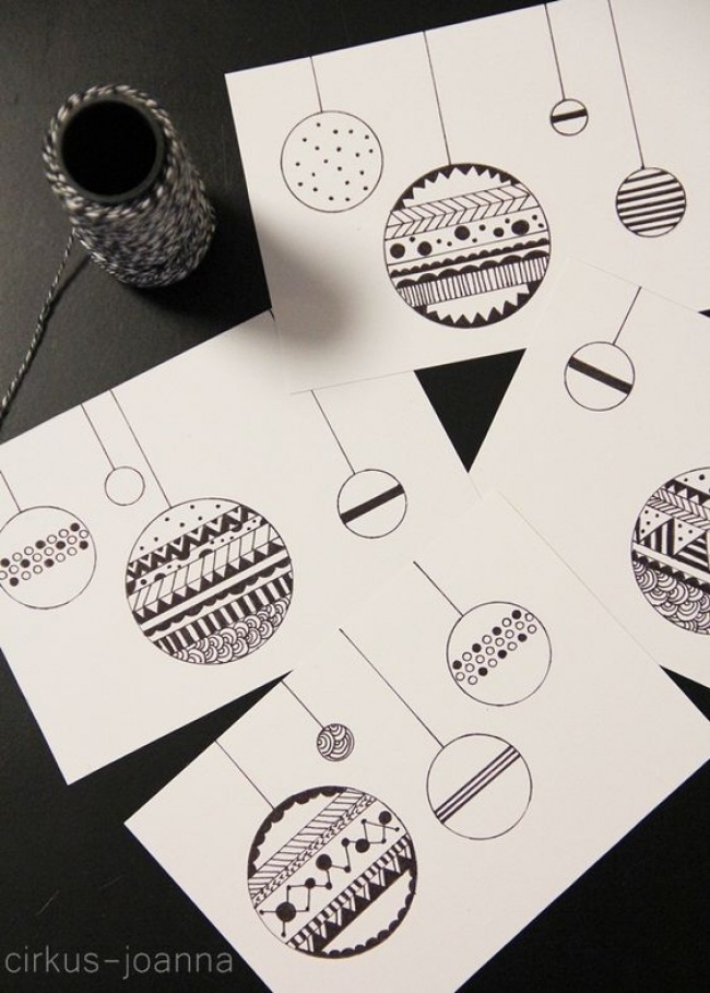 © cirkus-joanna  Неотразимая всвоем изяществе идея— нарисовать черной гелевой ручкой елочные