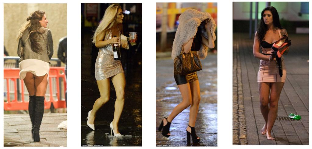 Красивым девушкам не страшны ни ветер, ни дождь, ни высокие каблуки.