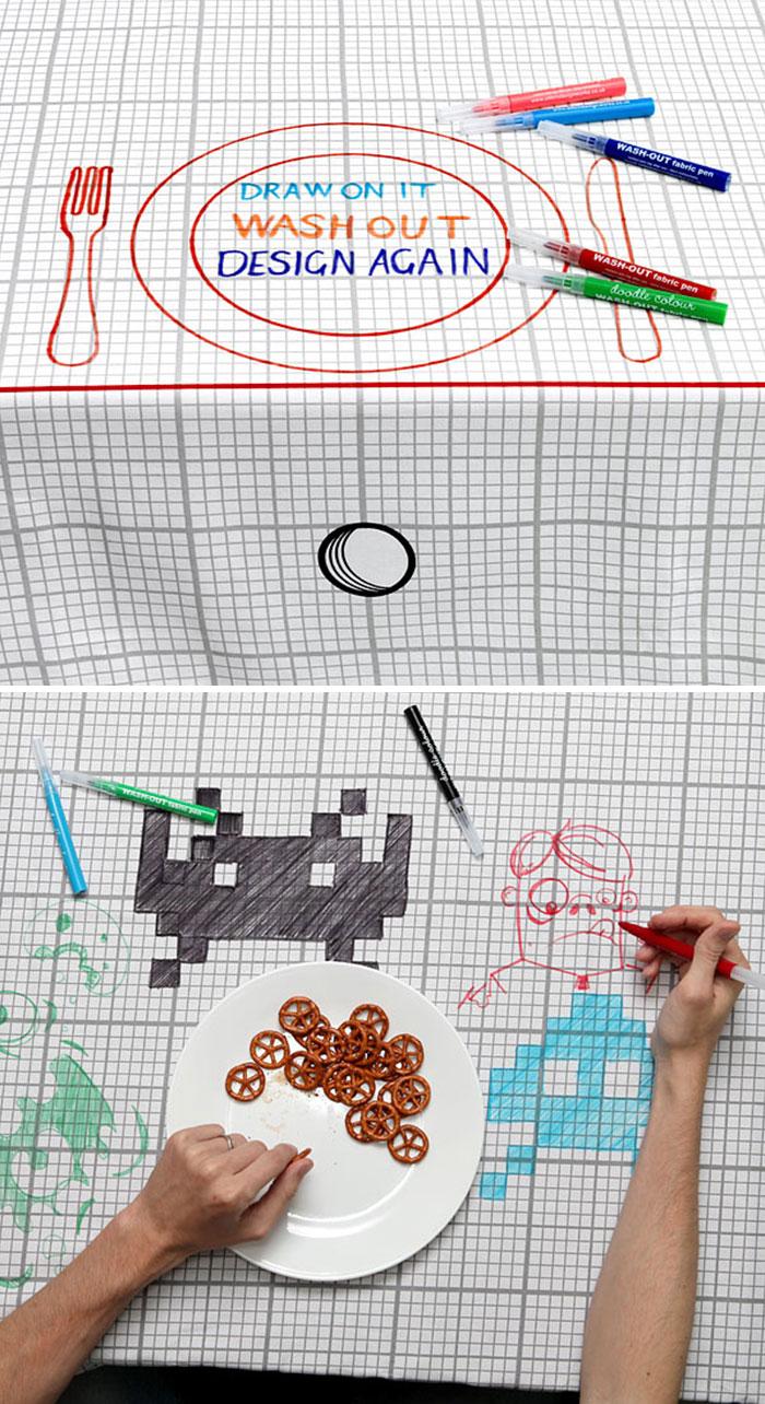 Скатерть Doodle, на которой можно рисовать.