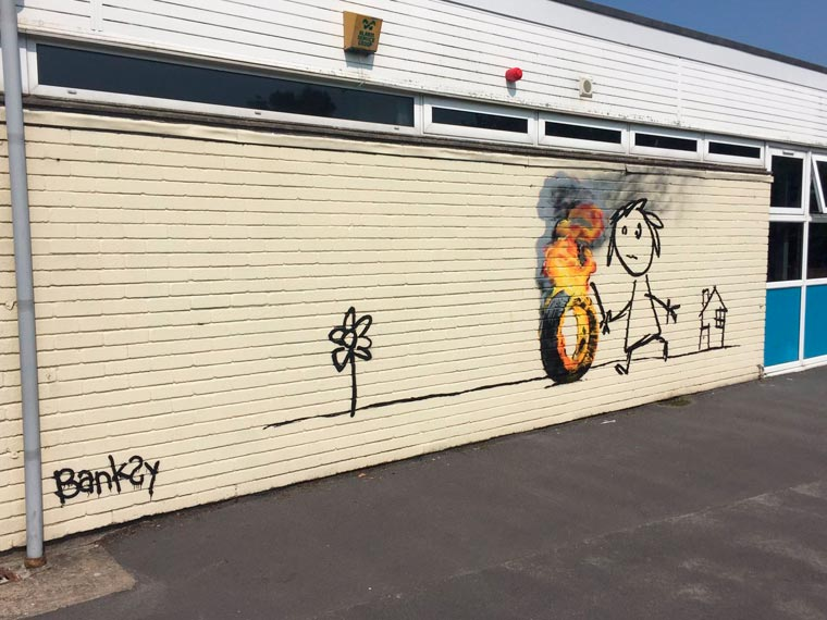 Banksy invites himself in a school renamed in his honor