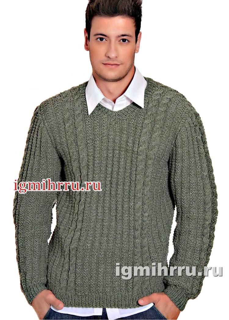 Серо-зеленый мужской пуловер с косами. Вязание спицами