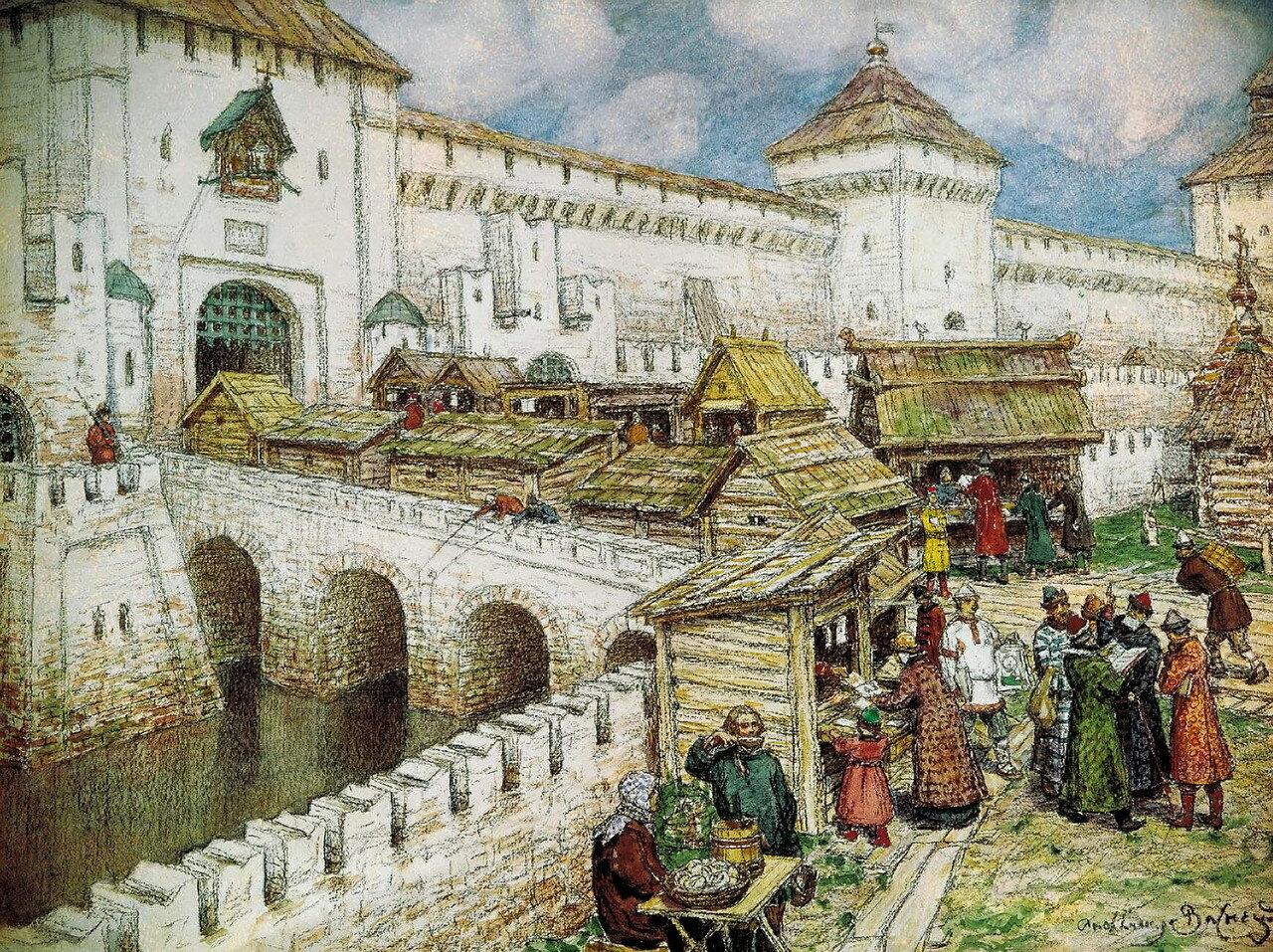 Книжные лавки на Спасском мосту, 17 век.jpg