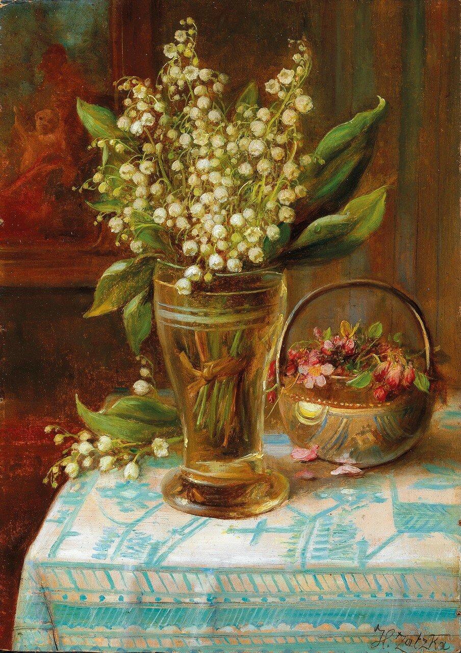 Hans Zatzka(Wien 1859-1945) Maiglöckchen im Glas