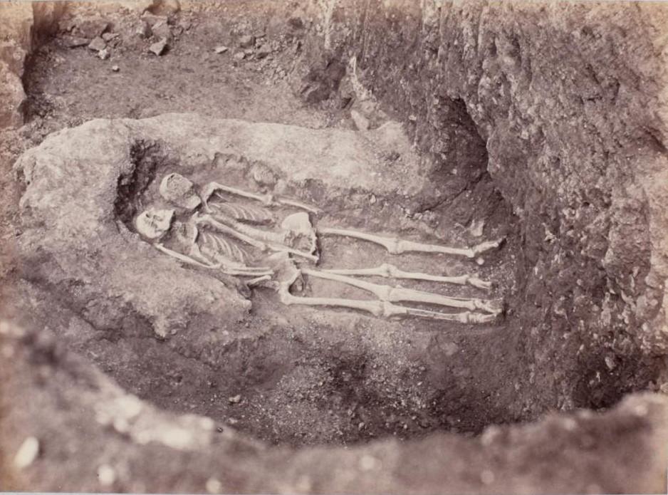 Раскоп с двумя скелетами