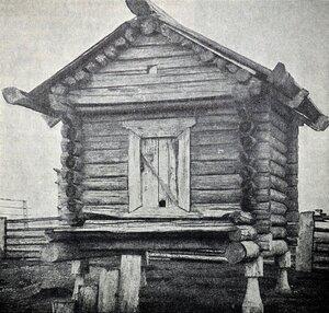 Окрестности Пинеги. Крестьянский амбар на столбах в деревне Ваймуша (Ваймуши) на реке Пинеге