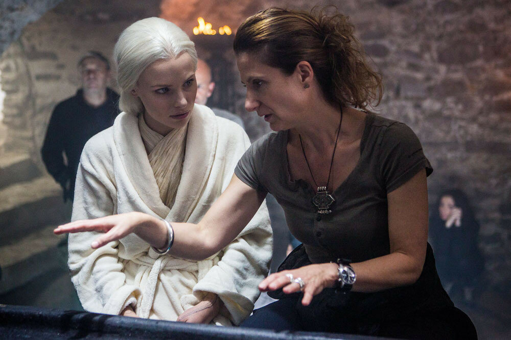 Clementine Nicholson and director Anna Foerster on the set of Screen Gems' UNDERWORLD: BLOOD WARS.