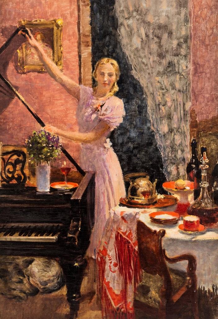 Девушка в интерьере, 1940, Самохвалов Александр Николаевич(1894-1971)