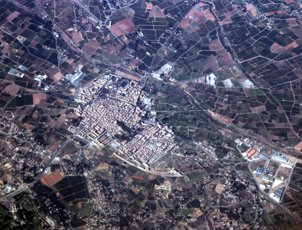 The town of Betera, Valencia, a view from an airplane