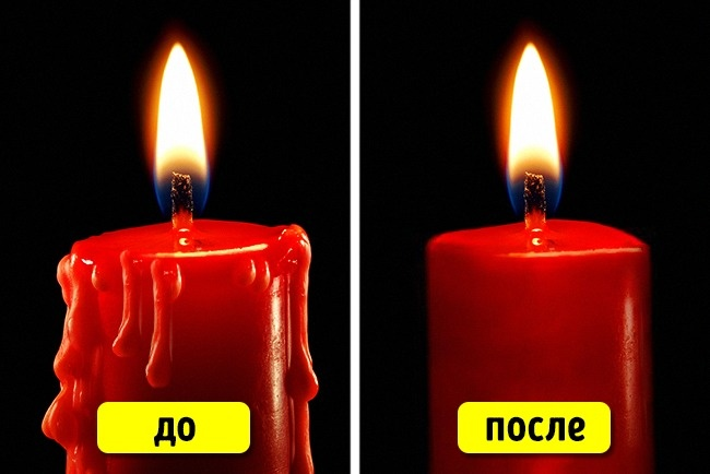 © Yakobchuk/depositphotos  Чтобы сосвечей некапал расплавленный парафин, опустите ихвконце