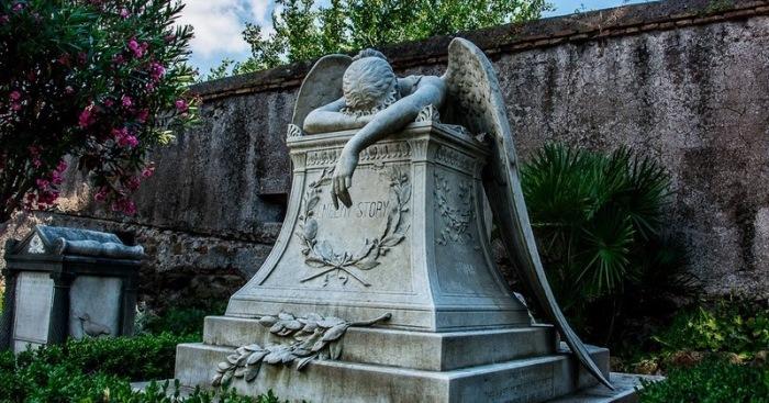 Надгробие появилось на протестантском кладбище в 1894 году. Установлено оно на могиле супружеской па