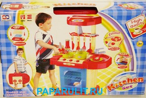 Игрушечная детская кухня с посудой, светом и звуком в чемодане 008-58