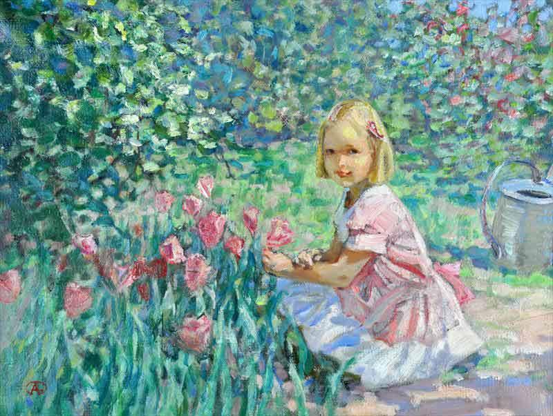 Alexander Tioutrine Девочка собирала цветы.jpg