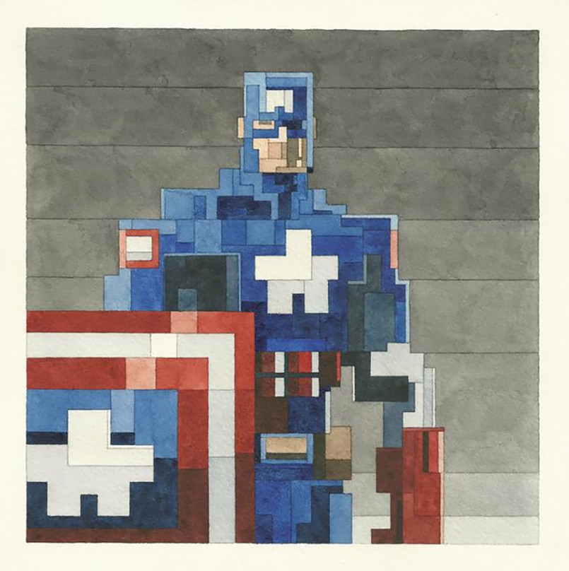 Pixelated Watercolor Paintings by Adam Lister