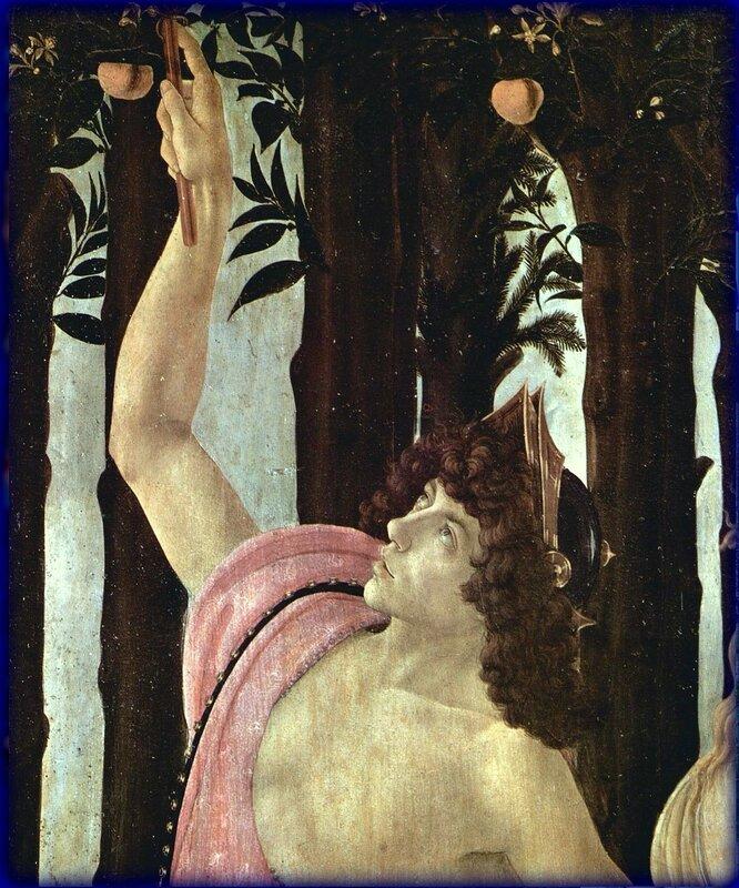 Меркурий. Sandro Botticelli. Фрагмент картины Боттичелли. Весна. 1482 год.jpg