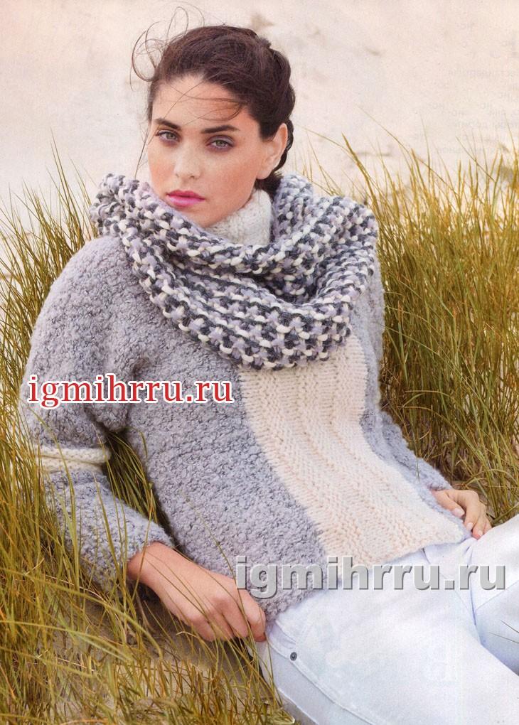 Двухцветный свитер и снуд в тон. Вязание спицами
