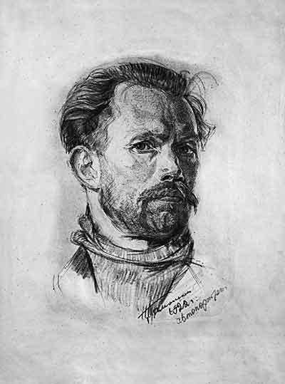 Н. Я. Тамонькин 1922 Автопортрет Бумага, уголь.jpg