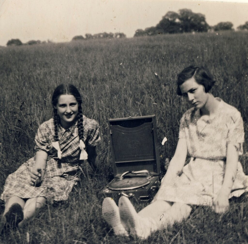 Girls with phonograph, 1940s..jpg