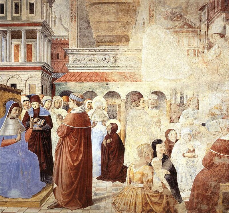 009-Бл.Августин перед императором, Моника - перед св.Амвросием.jpg