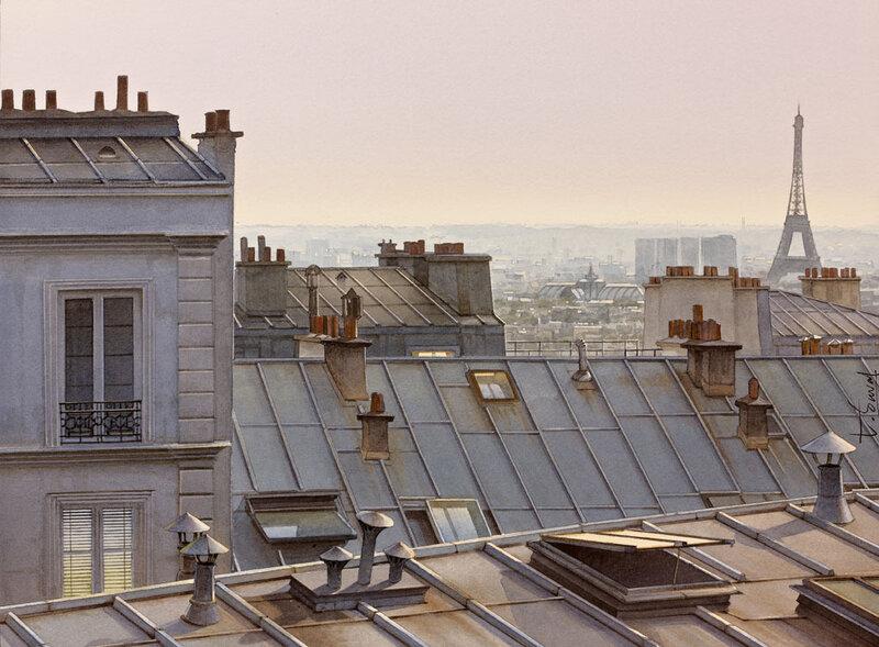 Les toits de Paris entre chien et loups