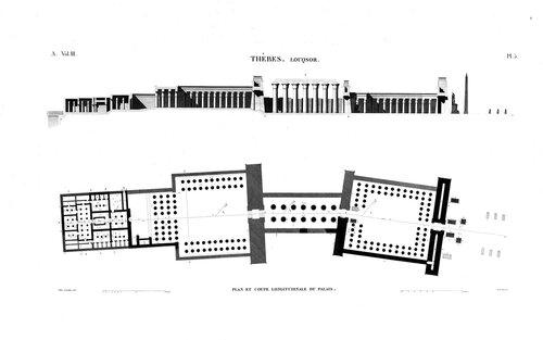 Храм Амона в Луксоре, верхний Нил, план и разрез