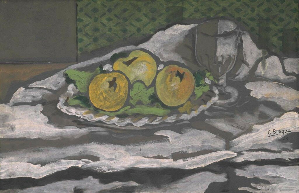Glass and Plate of Apples 1925 by Georges Braque 1882-1963