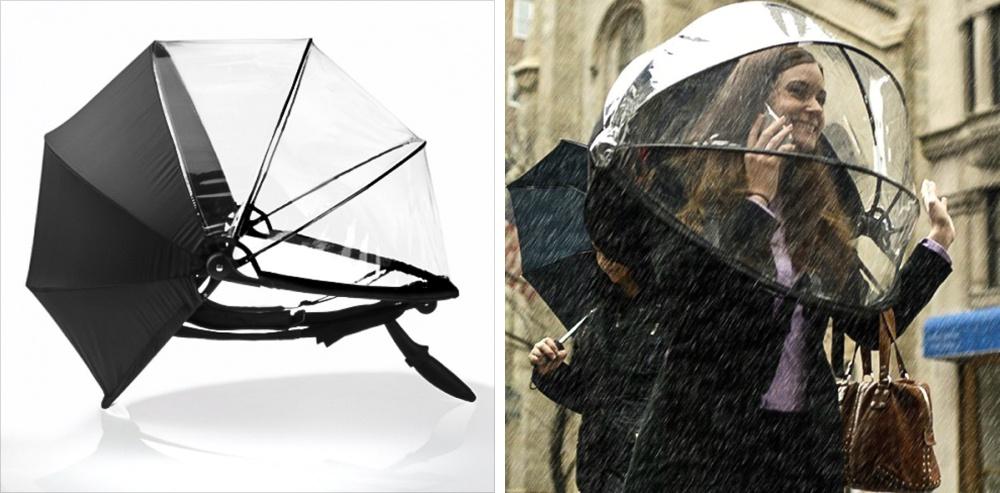 Зонт Nubrella при помощи специальных креплений удерживается нателе человека инетребует участия ру