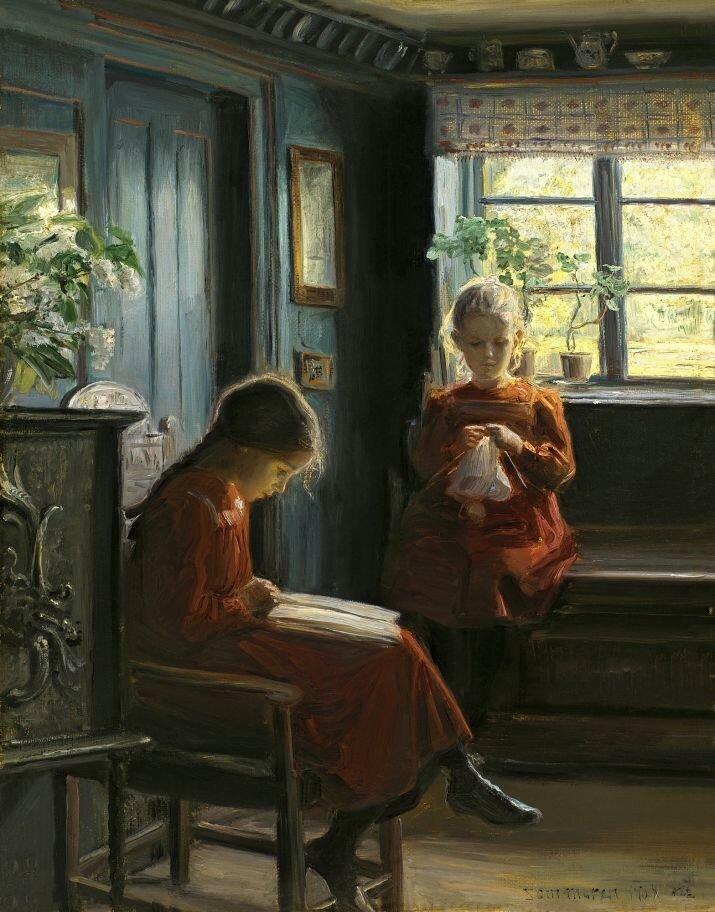 Knud Erik Larsen - Afternoon Pasttimes(Danish, 1865-1922).jpg